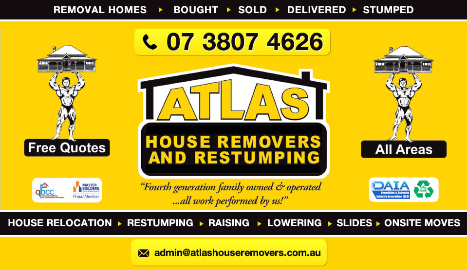 Logo for Atlas House Removers - Yatala QLD - (07) 3807 4626 - Removal Homes, House Relocation, Restumping and Building Recyclers, Atlas House Removers and Restumping.